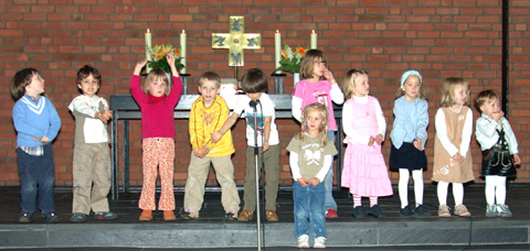 Kita-Kinder im Welcome-Gottesdienst